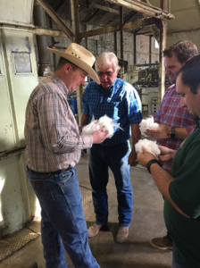 Gin Manager Stan Creelman discussing cotton quality with Assemblyman Mathis